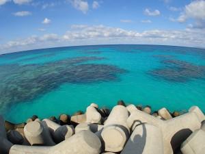 防波堤から眺めた波照間ブルー
